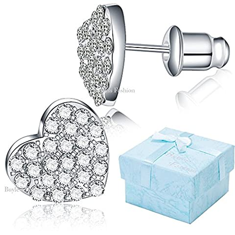 Buyless Fashion Hypoallergenic Surgical Steel Rhodium Plated Flat Heart Earring With CZ Stones And Push Backs-Silver - Glistening Heart