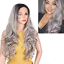 ForQueens Ombre Grey Lace Front Wigs Synthetic Glueless Wavy Hair Dark Roots 2 Tone Black to Gray Long Curly Wigs for Women Middle Part Full Wigs Natural Looking