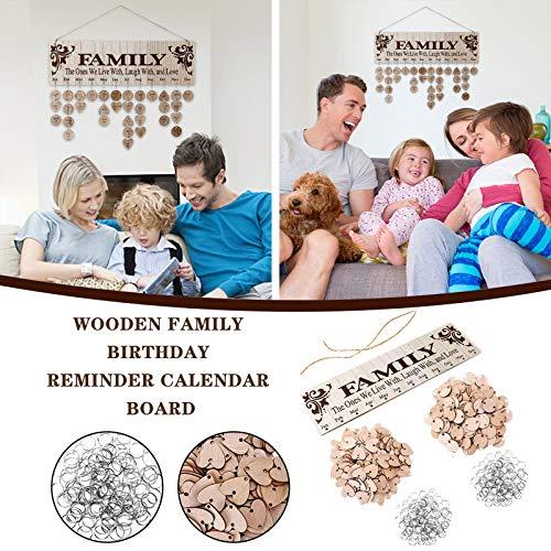 Clacce Immerwährender Geburtstagskalender Wandkalender Holzkalender Holzschild, Geburtstags Erinnerungsbrett, Familie, Hängekalender Jubiläum, Valentinstag (1PC)
