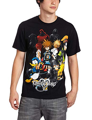 Disney Men's Mickey, Donald Duck & Kingdom Hearts T-Shirt, Black, 2XL (Kingdom Hearts Mad Engine)