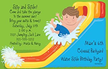 Image Unavailable Not Available For Color Waterslide Boy Party Invitations