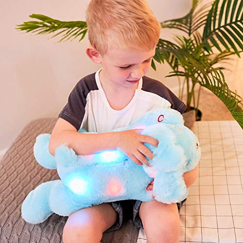 sofipal LED Dog Plush Toys, Cute Glow Dogs Stuffed Animals Doll Creative Night Light Puppy for Bedroom, Kids Birthdays, Christmas, Valentine (Blue,18inch)