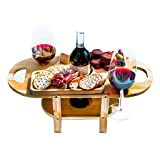Wine and Cheese Caddy with Removable Cheese Tray by Banana Bamboo Designer Wine Glass Holder Gift Wine and Cheese Board