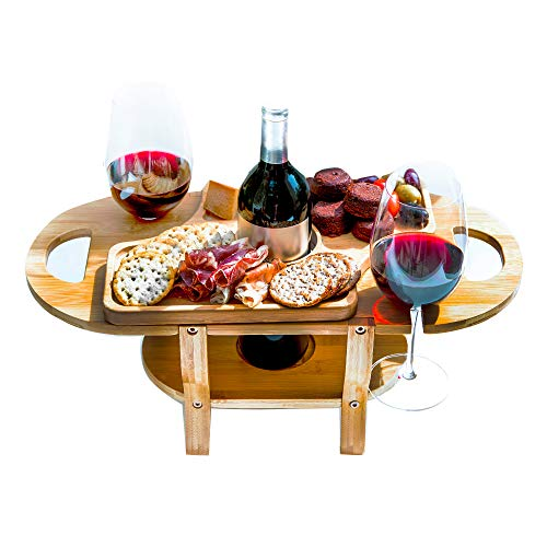 Wine and Cheese Caddy with Removable Cheese Tray by Banana Bamboo Designer Wine Glass Holder Gift Wine and Cheese Board by Banana Bamboo