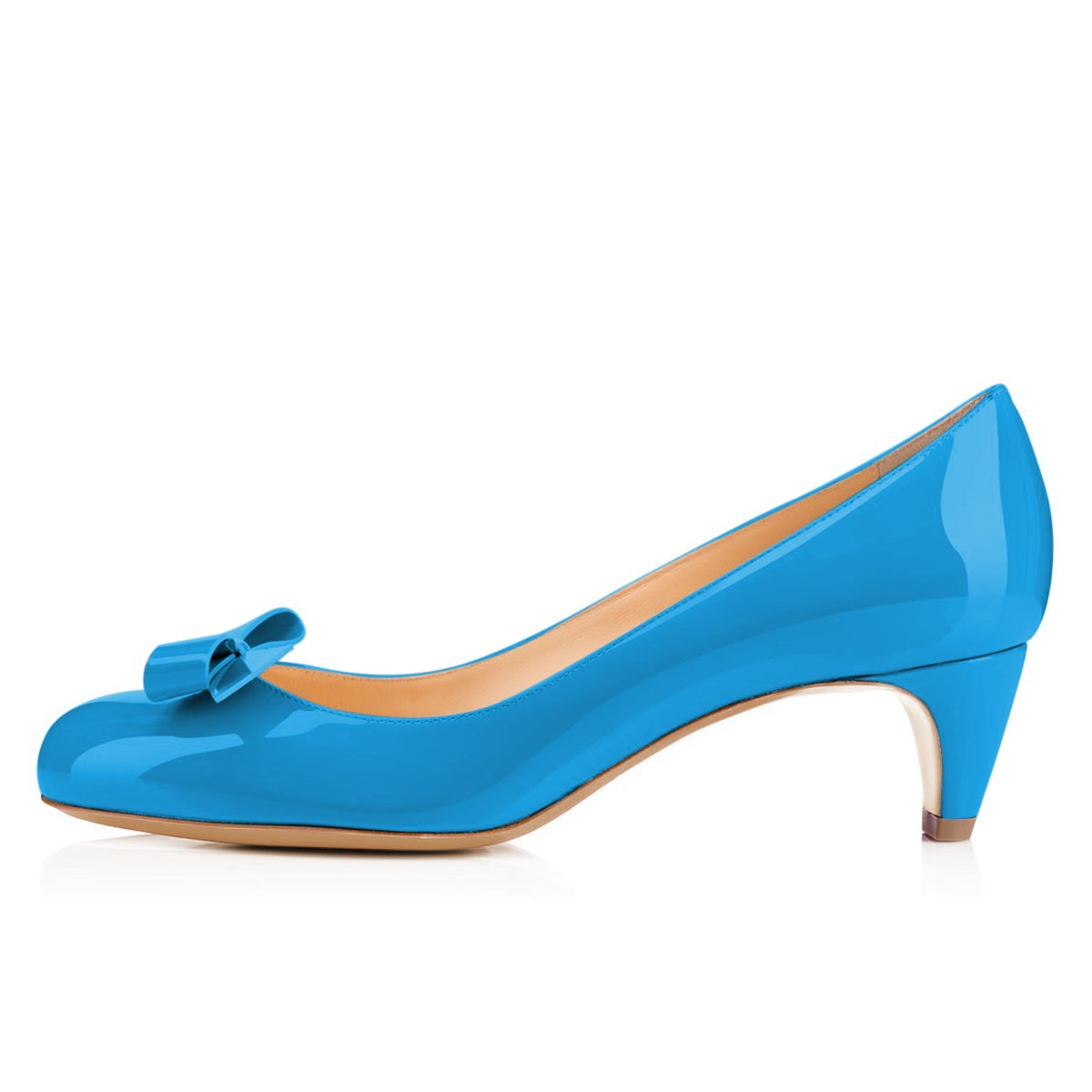 YDN Women Closed Round Toe Pumps Bowknot Low Heels Shoes with Bowknot Pumps for Work Office Ladies B07FXF17L3 14 M US|Blue 3605fb
