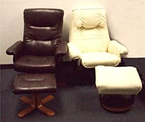 Thomasville Leather Chair and Ottoman Espresso