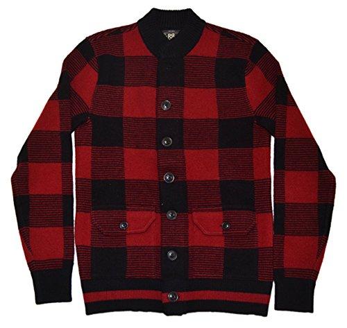 Ralph Lauren Polo RRL Men Wool Cardigan Sweater Bomber Jacket Plaid Red Black XL (Plaid Bomber Wool)