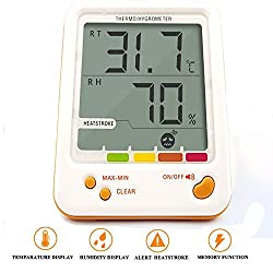 iFun4U Hygrometer Thermometer Indoor Outdoor Humidity Monitor Digital LCD Temperature Clock Thermo Hygrometer Meter with Min/ Max Value Alarm