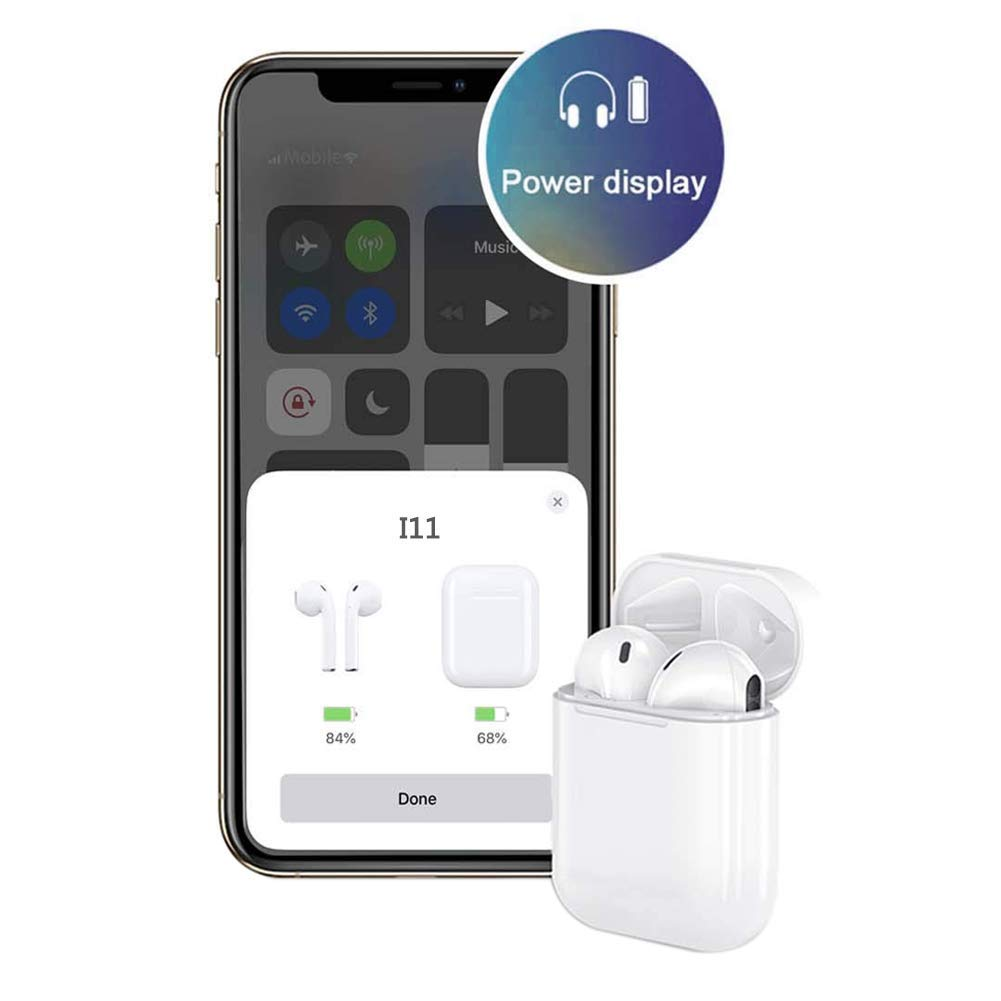 pop-up Pairing Automatic binaural Call with 3D Surround Sound Microphone Charging Box Compatible with Apple//Airpods Android iPhone Bluetooth I11 Wireless Touch Earphone