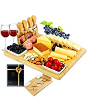 FunLect Bamboo Cheese Board Set – Serving Tray and Cheese Serving Platter. Rectangular Cheese Board and Knife Set for Cracker and Brie. Large Charcuterie Board Set and Cheese Tray for Housewarming Gift