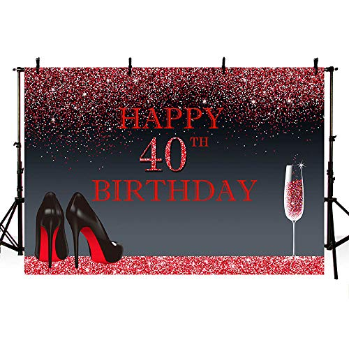 MEHOFOTO Photo Background Shining Red Black High Heels Champagne Woman 40th Happy Birthday Party Banner Backdrops for Photography 8x6ft