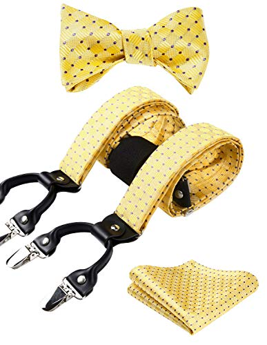 HISDERN Check Stripe 6 Clips Suspenders & Bow Tie and Pocket Square Set Y Shape Adjustable Braces,Yellow,One -