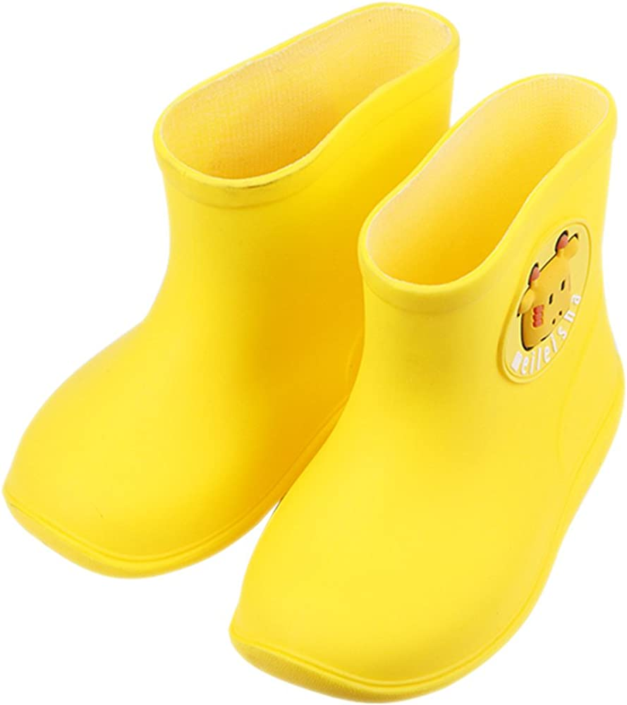 iFANS Toddler Candy Color Cute Cartoon Waterproof Kids Rain Boots Warm Sock Multiple Color Options