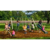 Backyard Swingin' Fun Metal Swing Set Features 5 activities that will keep 8 kids busy at the same time