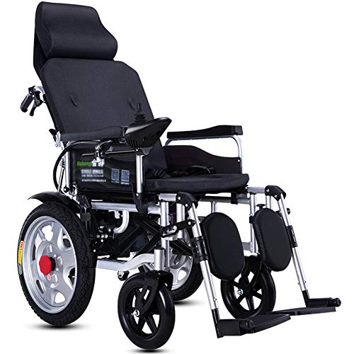 ACEDA Heavy Duty Electric Wheelchair with Headrest, Foldable and Lightweight Powered Wheelchair,Seat Width 45Cm,Adjustable Backrest and Pedal Angle,360° Joystick, Weight Capacity 150KG