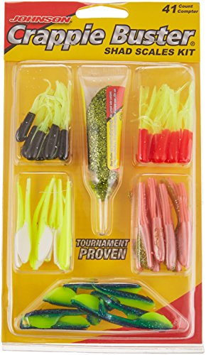 Johnson Crappie Buster Shad Scales Kit Assorted Fishing Bait, Multi, 1.1 oz