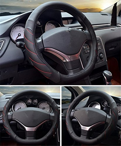 Semoss Genuine Leather Car Steering Wheel Cover Universal Wrap on Cover Black and Orange Fits 38cm//15 inch Diameter for All Seasons