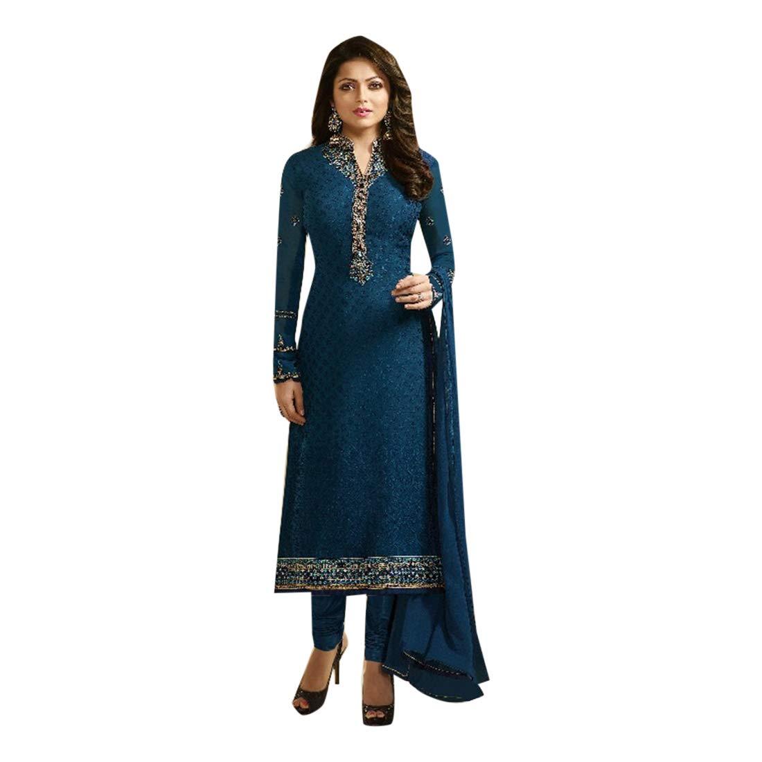 Ethnic Navy bluee Brasso Santoon Heavy Embroidery Straight Salwar Kameez Bollywood Designer Indian Muslim 7263