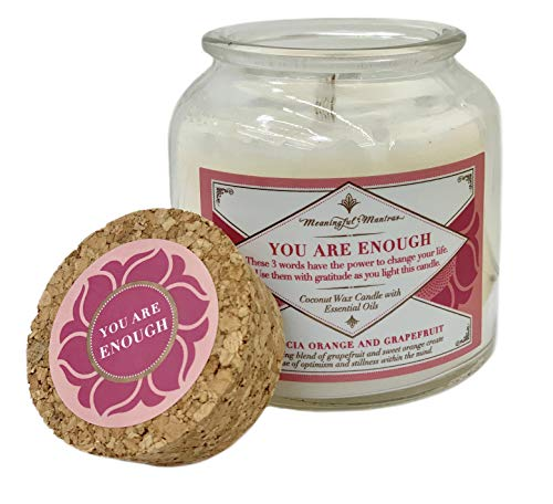 You Are Enough Vegan Citrus Candle | Valencia Orange & Grapefruit | REAL Essential Oils and Coconut Wax | Aromatherapy | Vintage Recycled Apothecary Glass Jar 8 Fluid Ounce Coconut Wax 6 Ounce