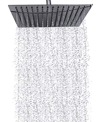 (Premium Rain Shower Head 12 Inch Square Ultra-Thin Luxury Spa Experience, High Pressure Full Body Cover, Adjustable Rainfall Showerhead, Stainless Steel 304 Chrome Finish, Silicone Nozzles by Happy-li)