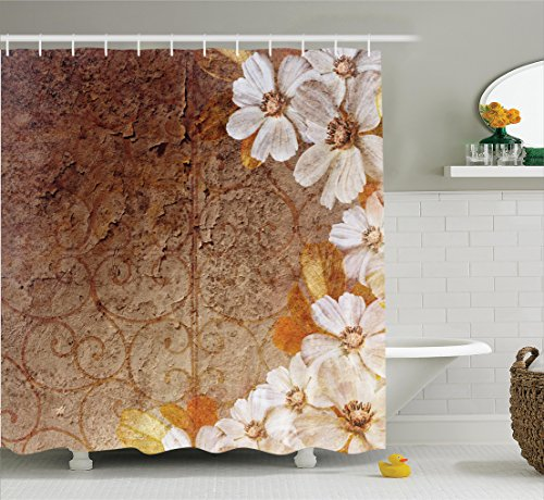 Ambesonne Grunge Home Decor Collection, Flowers and Leaves Pattern on Cracked Wall with Floral Lines Classic Deco, Polyester Fabric Bathroom Shower Curtain, 75 Inches Long, Brown Gold - Brown Gold Color