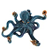 Nauti Blue Poly Stone Resin Octopus Hook for Coats Hats Keys and Towels 9 Inches in Diameter