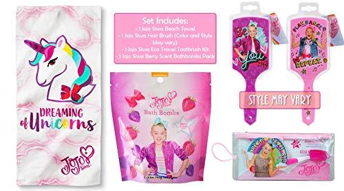 JoJo Siwa Beach Bath Towel with Hair Brush and Tooth Brush Bundle Gift Set for -