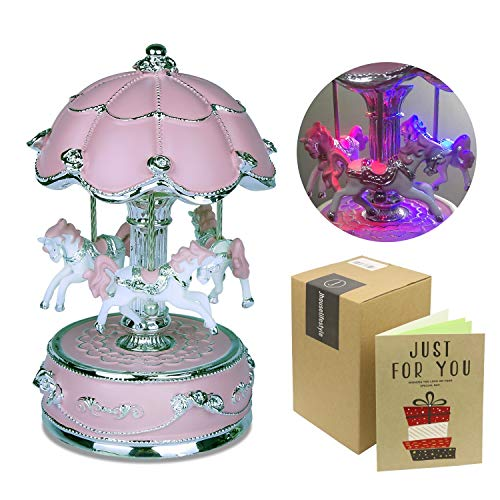 J house lifestyle Carousel Music Box, Carousel Horse Music Box,Merry Go Round Music Box Carousel Music Boxes for Girls Granddaughters - Large ()