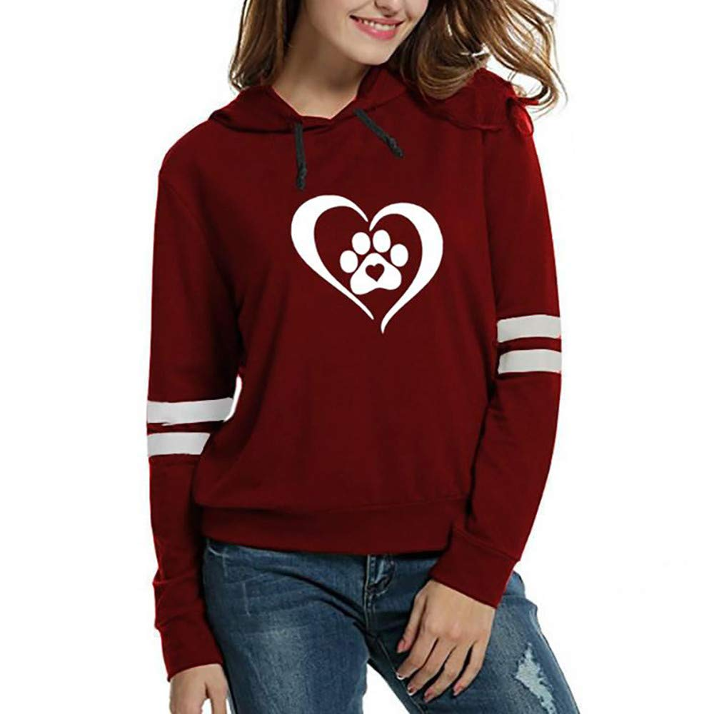 SHUSUEN Women Hoodie Casual Long Sleeve Hooded Pullover Sweatshirts Hooded Female Jumper Women Tracksuits Sportswear Red by SHUSUEN