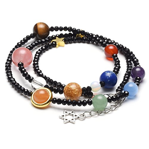 Jovivi Natural Multilayer Solar System Bracelet Universe Galaxy The Nine Planets Star Spacer Glass Beads Necklace ()