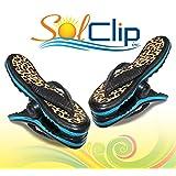 Beach Towel clips, pegs, clothespins, épingles, pinces à serviette de plage, SolClip Canada, Flip Flop Leopard