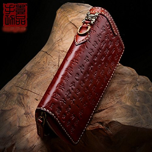 Handgemachte Brieftasche Großhandel lange Männer und Frauen Reißverschluss Tasche erste Schicht aus Leder handgenäht wie Buddhas Herz Menstruation Brieftasche (Braun) Braun s92brWtHLG