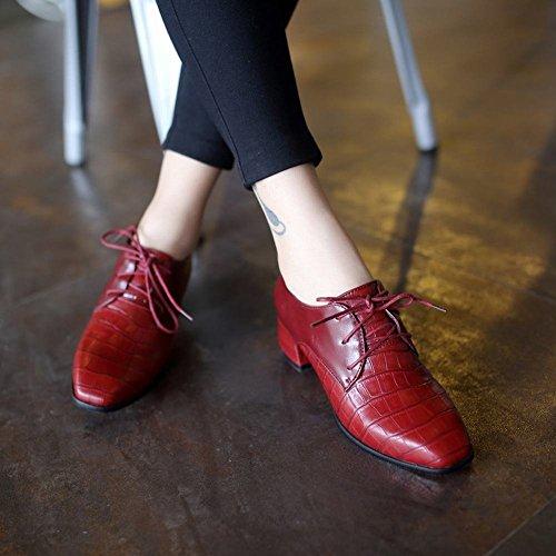 Latasa Womens Chique Faux Slangenleer Half Dikke Hak Veter Oxford Schoenen Claret-rood