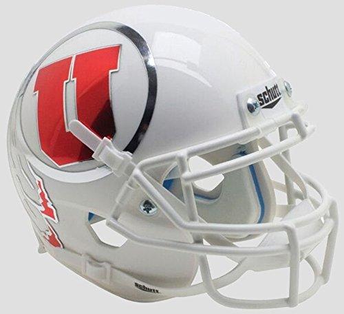 Schutt Utah Utes Mini XP Authentic Helmet White w/Oversized Decal - Licensed Utah Utes Memorabilia