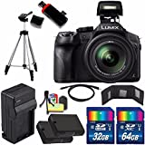 Panasonic Lumix DMC-FZ300 Digital Camera + Extra battery + Charger + 32GB Card + 64GB Card + HDMI Cable + Tripod + USB Card Reader + Memory Card Wallet + Deluxe Accessory Kit Bundle