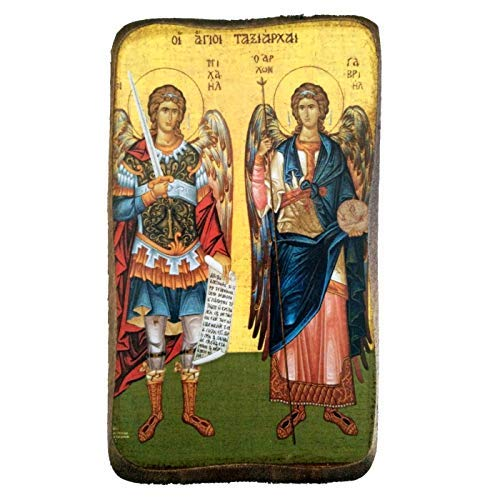 Wooden Greek Christian Orthodox Wood Icon of Archangel Michael and Gabriel / A0