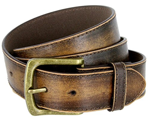 Distressed Leather Buckle (Men's Vintage Distressed Leather Casual Jean Belt for men 1-1/2