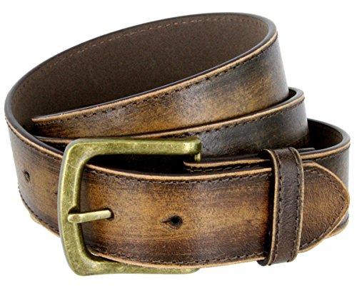 Men's Vintage Distressed Leather Casual Jean Belt for men 1-1/2