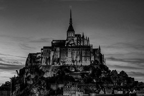 Rocament 24x16 Inches Wall-Canvas Stickers Poster - Le Mont Saint Michel Basse Normandie France - Wall Art Prints For Home Decoration - Black and (Normandie Canvas Print)