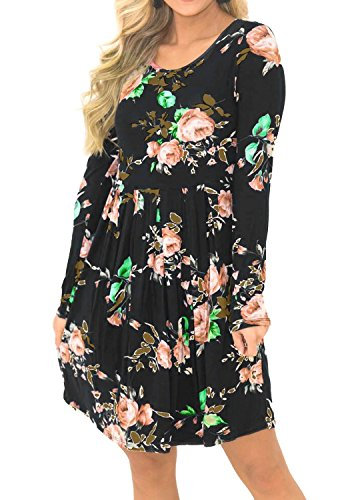 Simier-Fariry-Women-Long-Sleeve-Floral-Print-Pocket-Pleated-Casual-T-Shirt-Dress