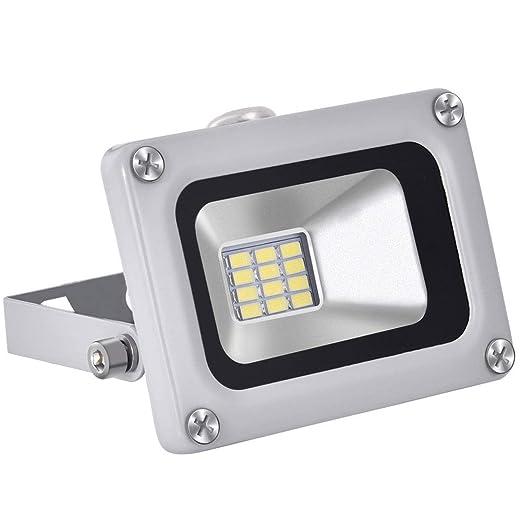 12V Foco LED, 10W 800LM Blanco Frío 6000K Reflector Foco Proyector LED para Exteriores Floodlight, Súper Brillante luz de Seguridad para Jardín, ...