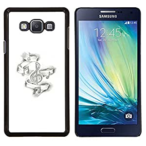 Dragon Case - FOR Samsung Galaxy A7 - note music black white piano music's - Caja protectora de pl??stico duro de la cubierta Dise?¡Ào Slim Fit