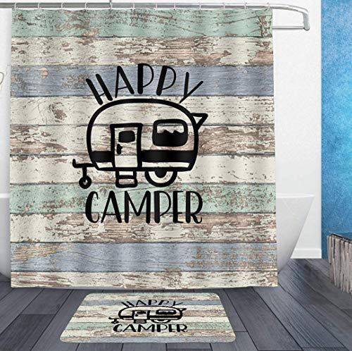 SWEET TANG Waterproof Shower Curtains 72x72 and Bath Rug 18x30 - Vintage Wooden Door Happy Camper Bath Curtain and Doormat - Bathroom Decor Set with Hooks