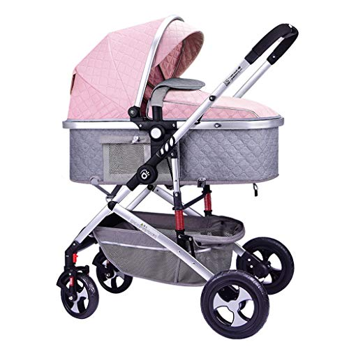 3-in-1 Baby Pushchairs Stroller, High Landscape Foldable Baby Strollers for Children, Newborns and Toddlers, Multi-Adjustable Sunshade, 360 ° Universal Rubber Shock-Absorbing Wheels (Color : H)