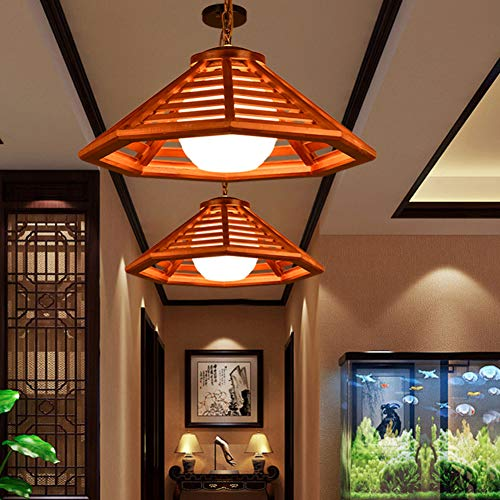 Solid Wood Single for lamp, American Vintage Home Decoration Lighting Fixture for Restaurant Aisle Balcony Led Chandelier-D diameter50cm(20inch) ()