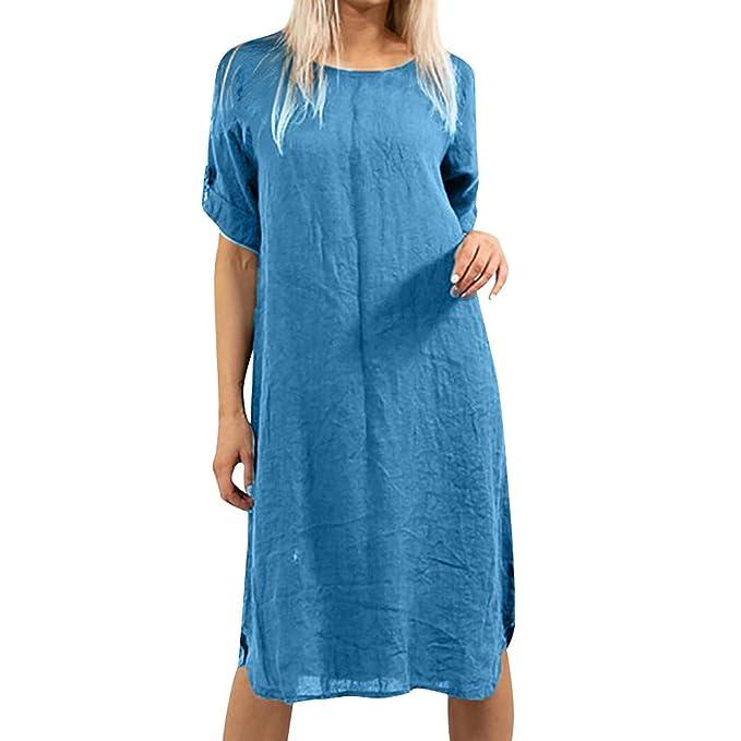 Wave166 Vestido Largo Mujer Casual Ropa Color sólido Top Falda ...