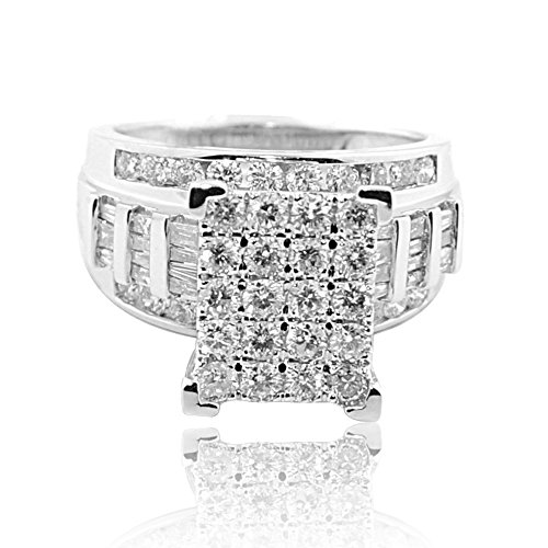 2ct Diamond Wedding ring 3 in 1 Style 10K White Gold 12mm Wide(2 cttw)