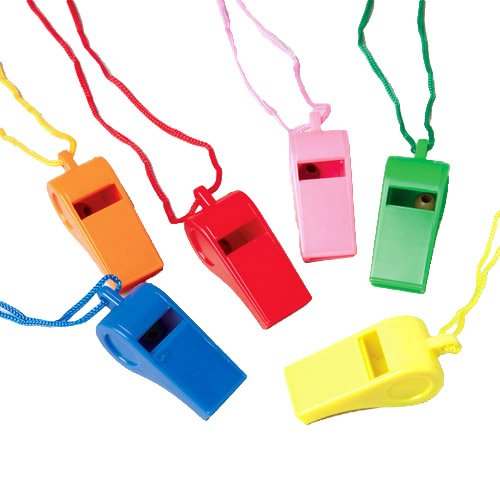 Color Whistles With Lanyards