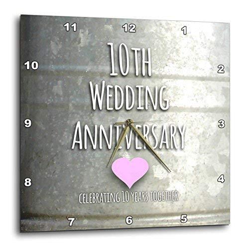 3dRose DPP_154441_1 10Th Wedding Tin Celebrating 10 Years Together Tenth Anniversaries Ten Yrs Wall Clock, 10 by 10-Inch (Anniversary Gift Tin)
