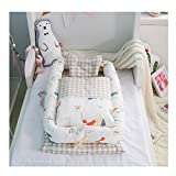 Cotton Detachable Baby Nest,Quilt and Pillow for 0-24 Months Baby (Squirrel)